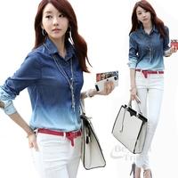 2014 Autumn Fashionable Long Sleeve Camisa Jeans Shirt Women Denim Shirt Desigual Blue Gradient Buttons Patchwork Casual Shirt