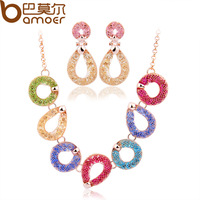2014 New Arrival Luxury Wedding Jewelry Sets For Women Champagne Gold Plated Zircon Crystal colorful Necklace Earrings sets