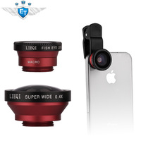 universal clip 3 in 1 180 Degree Fish Eye lens+Wide Angle+Macro kit Set for iphone 5 5s galaxy note 2 note 3 all mobile phone