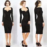 Sexy celebrity dress 2014 new british fashion autum deep V roupas femininas long sleeve bodycon midi Dresses women black/purple
