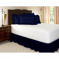 """Free Shipping!! Hot Sale Navy Blue Wrap Around Elastic Ruffles Style Bed Skirt for King/Queen Size Bed With 14"""" Drop"""
