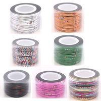 10 rolls Mix Color Rolls Striping Tape Metallic Yarn Line Nail Art Decoration Sticker Free Shipping 63490-63495