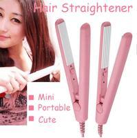 New Brand 2014 Mini hair straightener Pink Ceramic Electronic chapinha nano titanium corrugated Iron styling tools Free Shipping