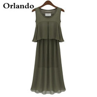 Wholesale new fashion boutique European style ladies sleeveless chiffon dress long section outside the ride free shipping