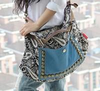 2014 Casual fashion women retro canvas bag female big bag handbags women rivet package diagonal package women shoulder bag