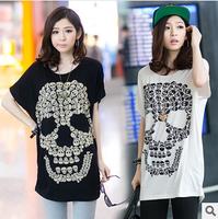 2014 fashion summer batwing sleeve skull printed modal women t shirt loose medium long tops free shipping best selling