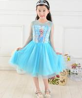 2014 hotest Frozen Girl series Dress Elsa Anna Princess Party Dress Summer Short Sleeve Shimmer Mesh Tutu clothing Girl wear