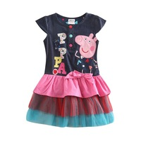 Peppa pig dress for baby girls 2014 new peppa pig baby girls printed wave point cotton evening party dress for baby girls H4871