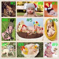 NEW 2104 Lovely Animals Baby Crochet Knitting Cap Cartoon Photography Props Newborn Hats Sets Handmade 0-12 month 1set HK002