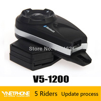 Free shipping 2014 New motorcycle intercom bluetooth helmet interphone for 5 users 1200 m same time full duplex talking