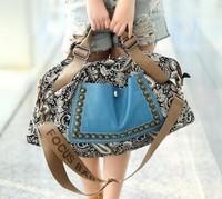 2014 Hot  The female national trend bag one shoulder women's handbag large rivet messenger bag canvas women's bags