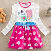 Retail 2014 brand Peppa Pig dress for girl,girl dress kid,striped pink black girls children clothing summer autumn free shipping