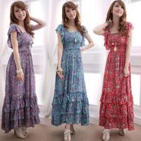 XL~4XL 2014 Summer Ladies Plus Size XXXXL Floral Ruffled Short-sleeve Pleated Bohemia High Waist Beach Slim Cotton Dresses