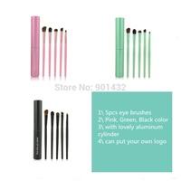 Animal Hair Beauty 5 Pcs Eyes Brushes Set Cosmetic Brush Kit Portable Eye Brush Eyeshadow Brush with Small Canister case 4 Color