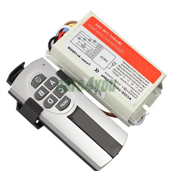 4 Ports Wireless Remote Control Switch Digital Remote Control Switch Lightswitch High Quality Switch E#CH(China (Mainland))