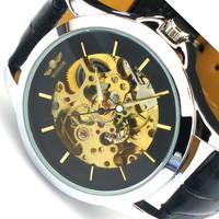 Classic Clock Analog Display Watch Men Skeleton Mechanical Wristwatch for Male