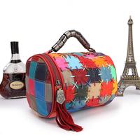 2014 women's genuine leather handbag sheepskin patchwork chain bag rope knitted tassel cross-body small pillow bucket bag