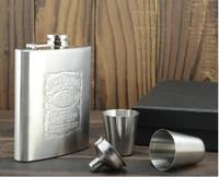 fast shipping! 2set=1lot! Jack Daniels Hip Flask 7oz set Portable Stainless Steel Flagon Wine Bottle Gift Box Pocket Flask Russi