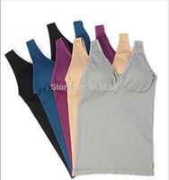 Wireless Women Shirt Built in Bra,New Women Sports Vest Fashion Yoga suit Bandeau Tops Sexy Tank For Women Bra Camisole 5 Color