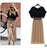 European style chiffon stitching large size women knitted waist was thin short-sleeved dress