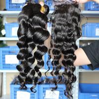 Malaysian Virgin Hair 1pc Silk Base Lace Closure With 3pcs Hair Bundles Unprocessed Human Virgin Hair Extension Loose Wave Hair
