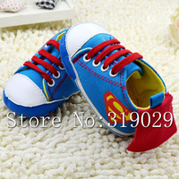 New Brand First walkers Baby shoes Superman Children Soft sole Lace up Boys/Girls Shoes Toddler sneakers