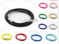 4mm Braid PU Leather Bracelets 3 String Fashion DIY Bracelets 24 pcs Free Shipping