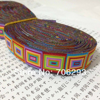 7/8'' 22mm  Rainbow Square Multi Tone Woven Jacquard Ribbon For Dog Collar Free Shipping