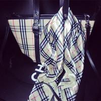 vintage fashion plaid man-made silk scarf square-into scarf for bags handle handbag handle free shipping