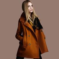 2014 new autumn winter women coat  wool coat double breasted  woolen coat casacos femininos coffee black jacket trench outwear
