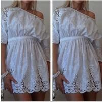 Summer dress 2014 embroidery women dress Hollow out Flower Casual dress  Sexy mini dress Free shipping