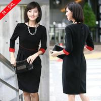 OL Ladies Workwear Big Size XL-5XL Spring Autumn Elegant Brand Women's One-piece Dress Professional Black Dress