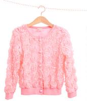 2014 new girls rose flower coat children spring autumn long sleeve coat kids baby jacket clothing children fashion outwear