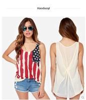 body sale vintage Hot american flag print chiffon tank top Women Clothing 2014 New European Style Sleeveless Sexy knit vest Top