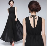2014 bohemia skirt racerback one-piece dress elegant slim black chiffon expansion bottom sleeve length skirt