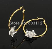 Large Filigree Flower Drop 3D 24k Two Tone Gold Filled GF Hoop Earrings 45MM Jewellery Free shipping