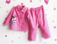 Free Shipping - cute minnie polka dots pink color gilr's pajamas in 100% cotton, kids minnie pajamas(MOQ: 1pc)