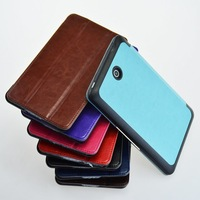 For Dell Venue 7 Case High Quality Crazy Grain Magnets clasp Tri-Fold Smart Leather Cover Stand