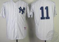 Outlet Baseball Jersey #11 Brett Gardner White Pinstripe