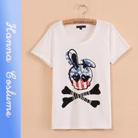 New summer 2014 loose print t shirt fashion women t-shirt top short sleeve skull head  t shirts woman clothing