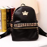 Hot Selling Punk Style Rivet School Bag Women Backpack Black Travel Bags