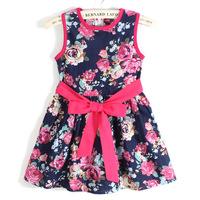 2014 summer girls dress flower printing children Princess dress sleeveless kid dancing party girl clothing free shipping