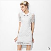 Plus Size New 2014 Brand Women Lapel white Lace dress Causal Summer Dress Pierced sexy tight dress bodycon Free Shipping