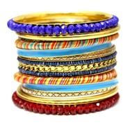 Luxury  Vintage Blue Mix Red Crystal Handmade Fashion Multi Layers Bracelets and Bangles. Retro Indian Style Wedding Jewelry Set