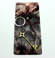 Wholesale Keychains 20pcs/lot Japan Anime Attack on Titan Eren gold key pendant necklace