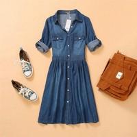 S-XXXXL Ladies Lapel Casual Pearl Button Denim Dress Plus Size Vintage Jeans Dresses 3/4 Sleeve Blue Thin Dress Summer Spring