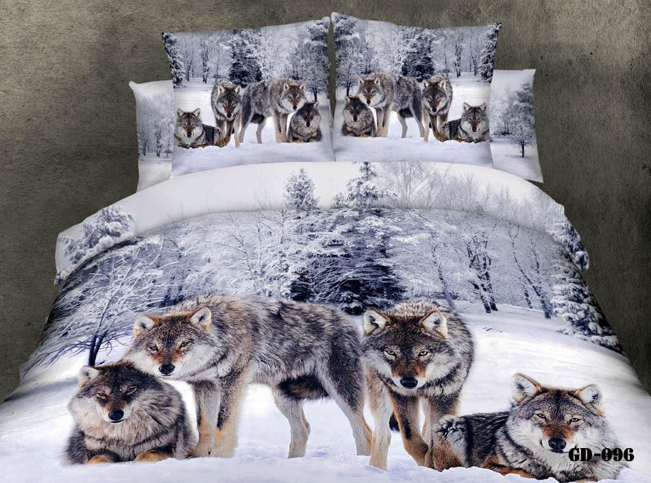 4pcs algodão lobo 3d conjuntos de cama de luxo de cetim a roupa de cama capa de edredon tamanho do conjunto de rainha(China (Mainland))