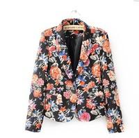 2014 new women's single buckle peony printed women suit women coat NO.2699 FREE SHIPPING