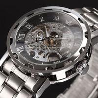 Watch for 2014 Fashion Watch men Skeleton mechanical hand wind watch mechanical vintage wristwatches