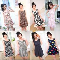Hot sale ! New 2014 summer women's dresses vest package hip Printed casual dress women 21 colors